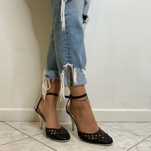 Chanel Vintage Trellis Leather Strap Sandal Heels.